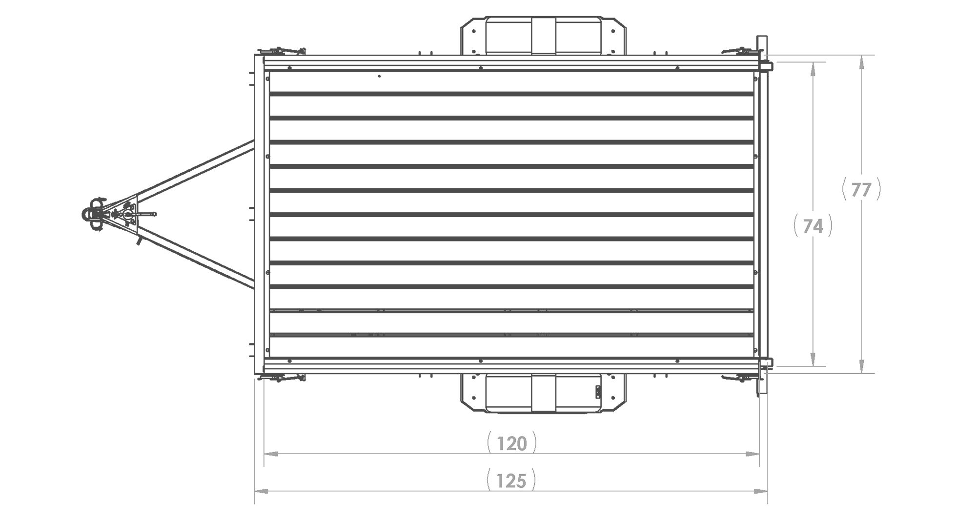 Karavan Trailer's 6 x 10 Ft. Steel Utility Trailer, model number 2990-72-10, Top View Measurement