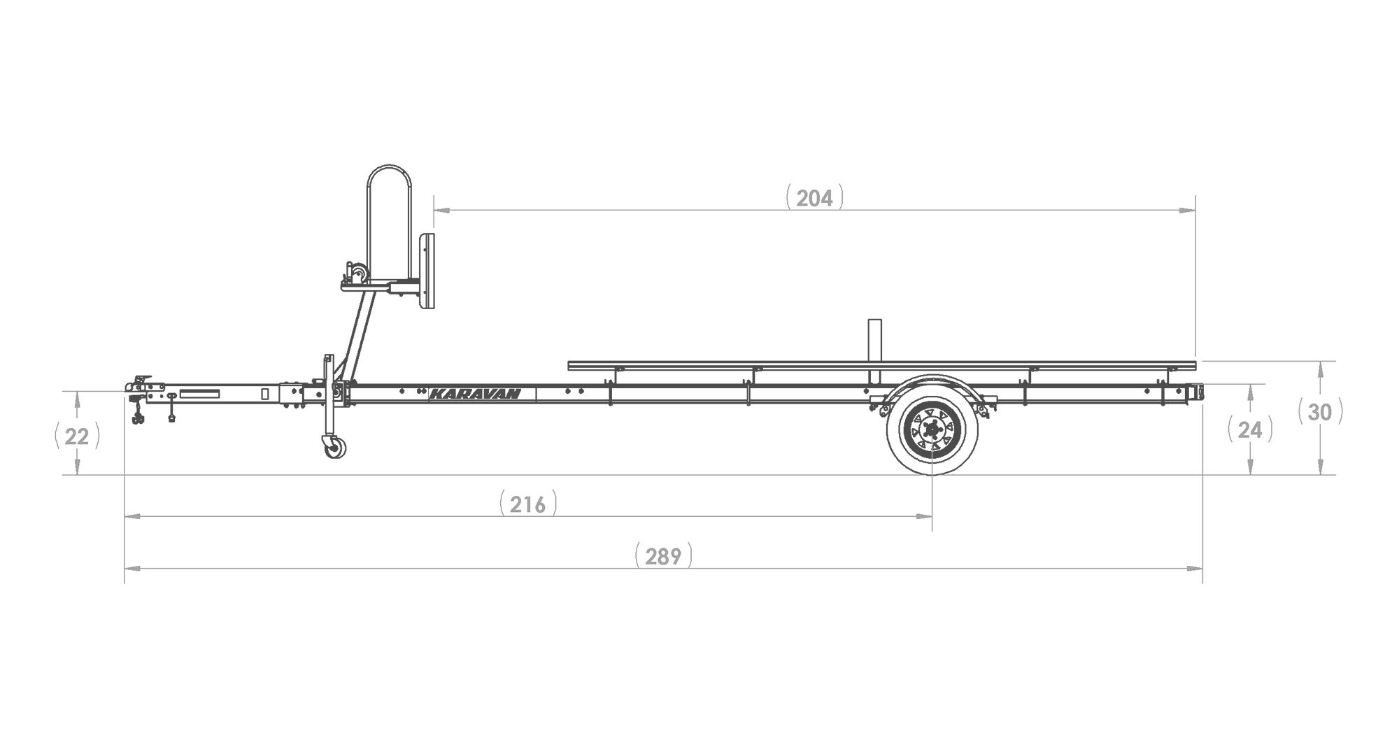 Karavan Trailer's Single Axel Aluminum Pontoon Trailer, model number KDPA-1618, Side View Measurement