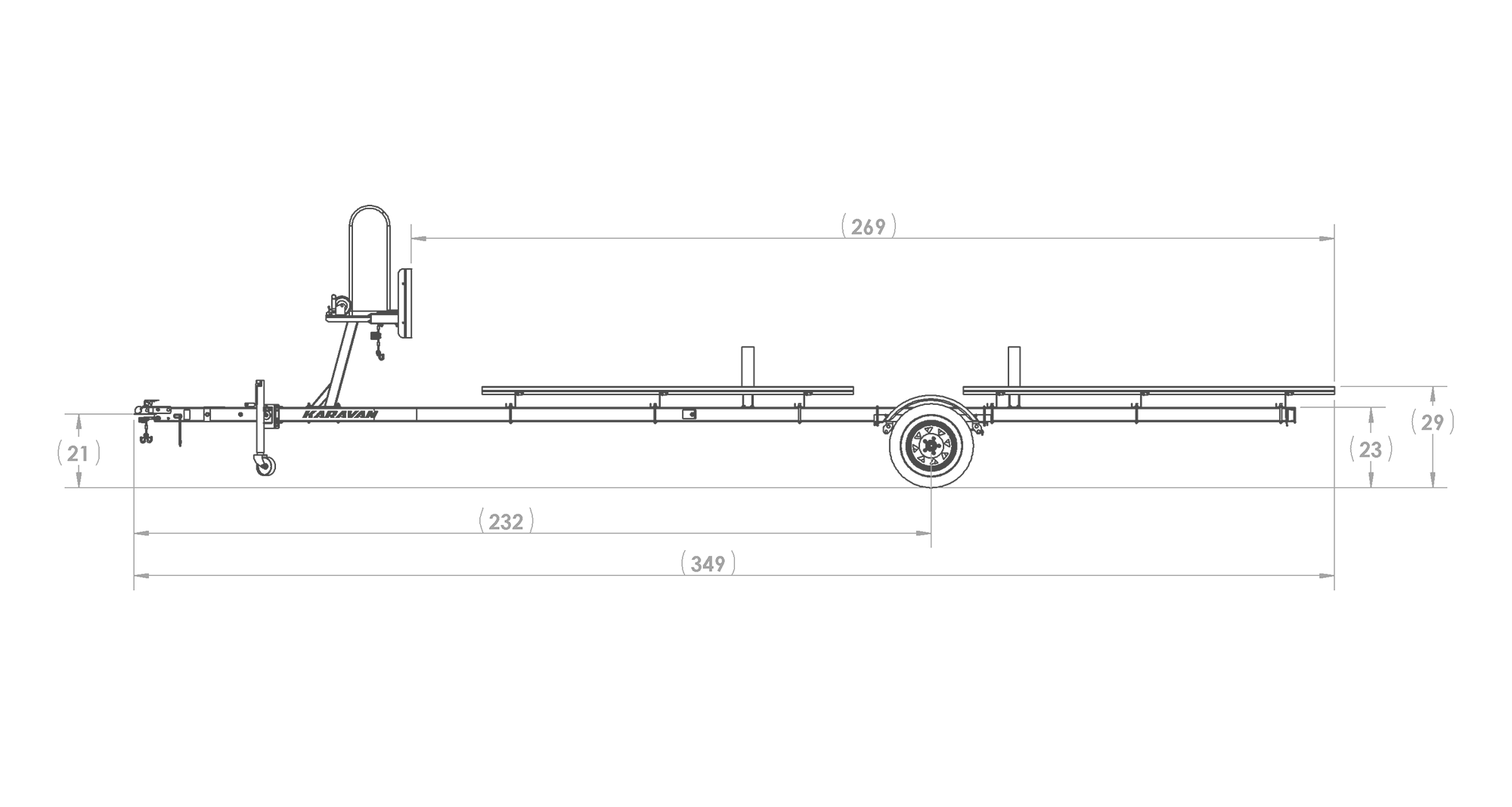 Karavan Trailer's Single Axel Large Pontoon Trailer, model number KDP-2225, Side View Measurement