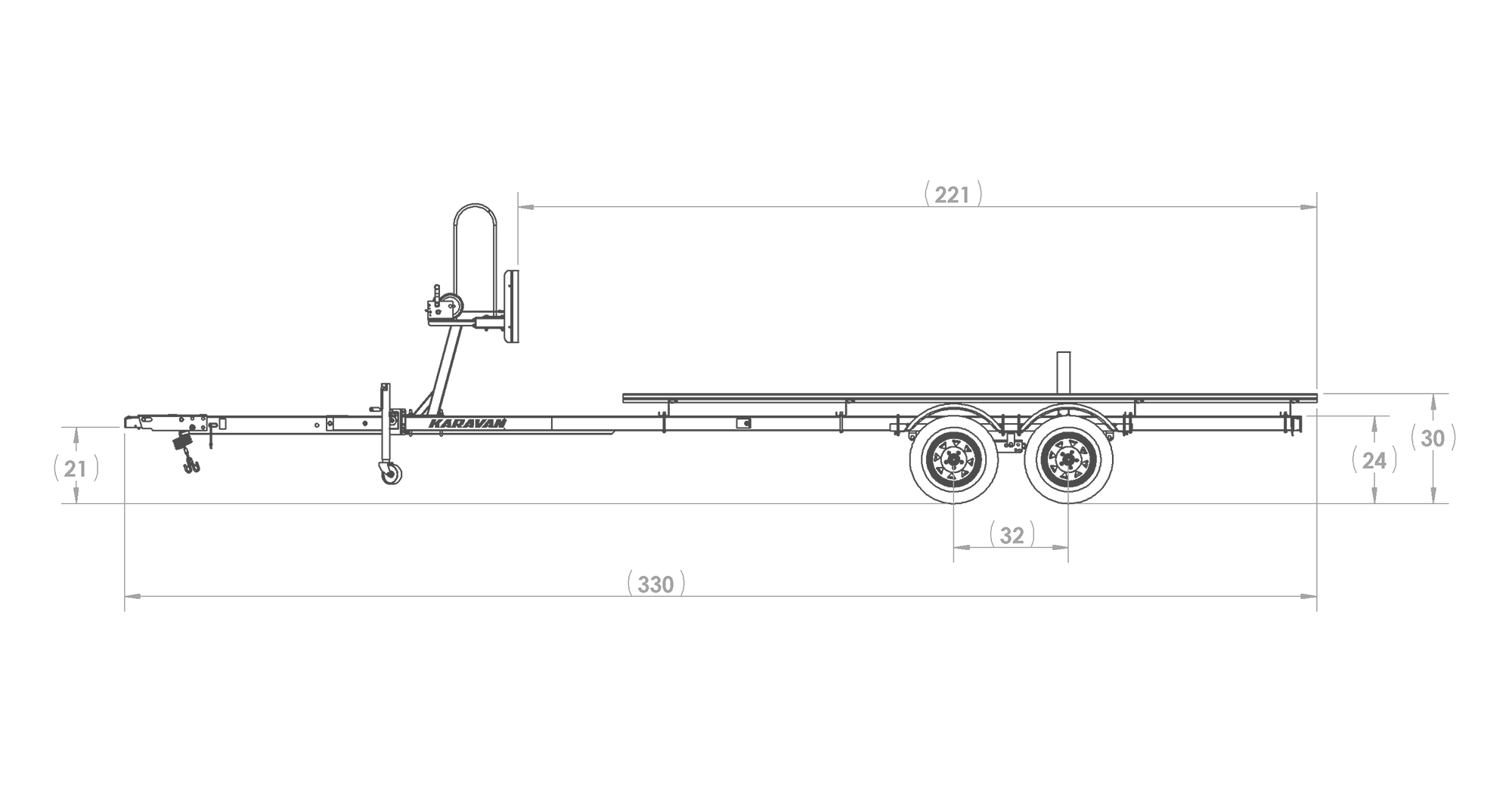 Karavan Trailer's Tandem Axel Midsize Pontoon Trailer, model number KDPT-1822, Side View Measurements