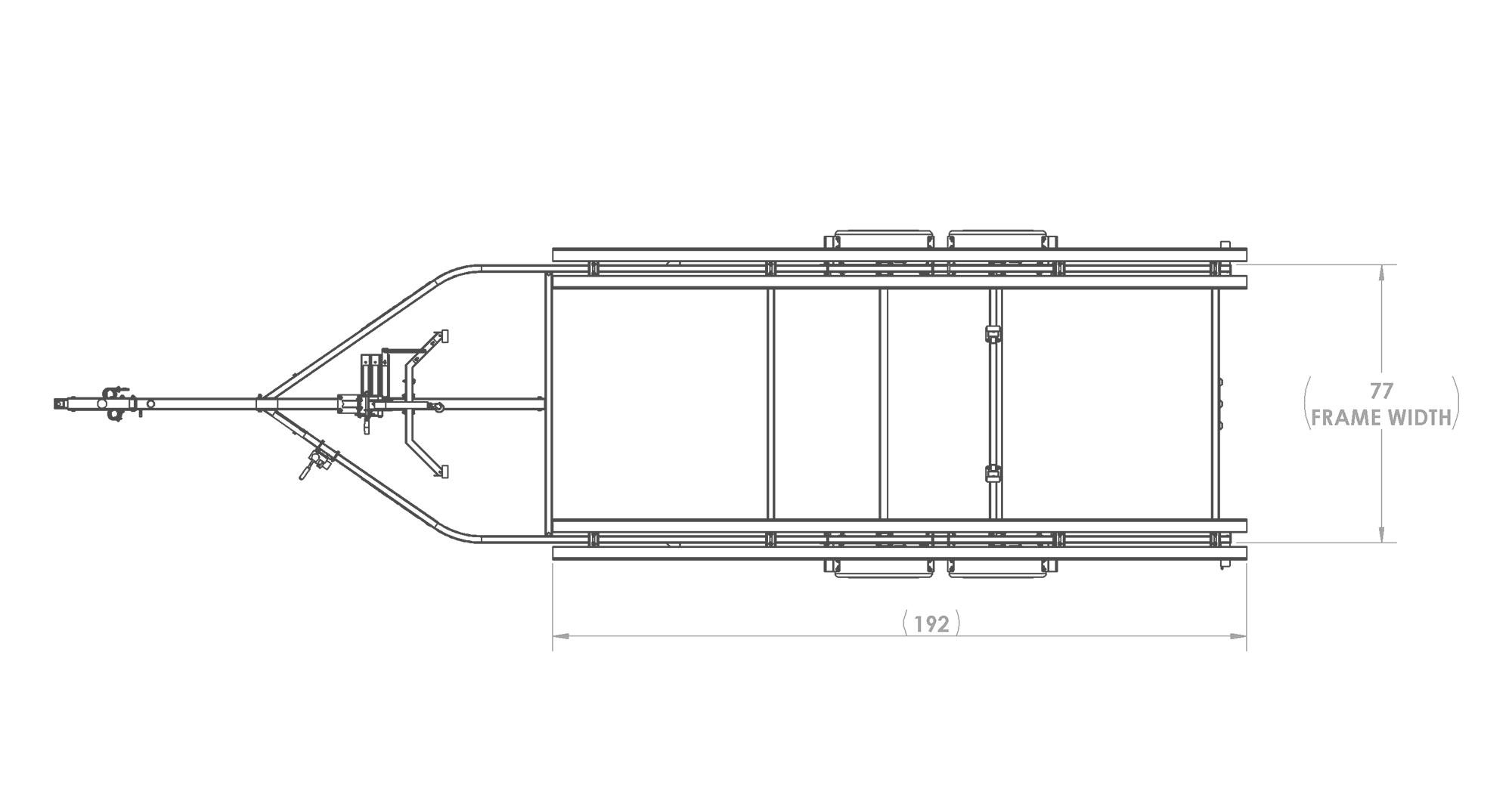 Karavan Trailer's Tandem Axel Midsize Pontoon Trailer, model number KDPT-1822, Top View Measurements