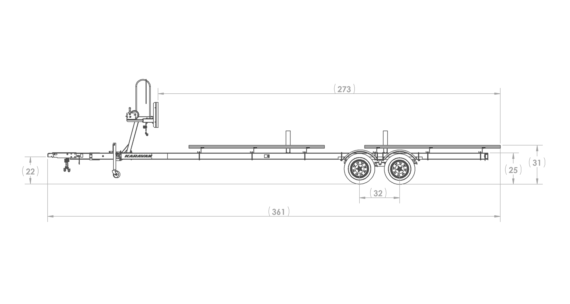 Karavan Trailer's Tandem Axel Large Pontoon Trailer, model number KDPT-2225, Side View Measurements