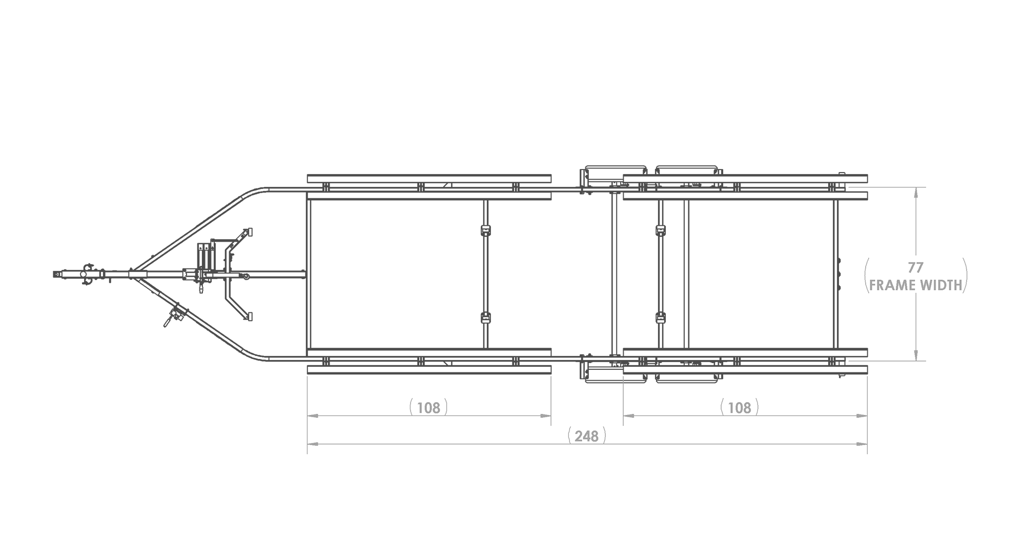 Karavan Trailer's Tandem Axel Large Pontoon Trailer, model number KDPT-2225, Top View Measurements