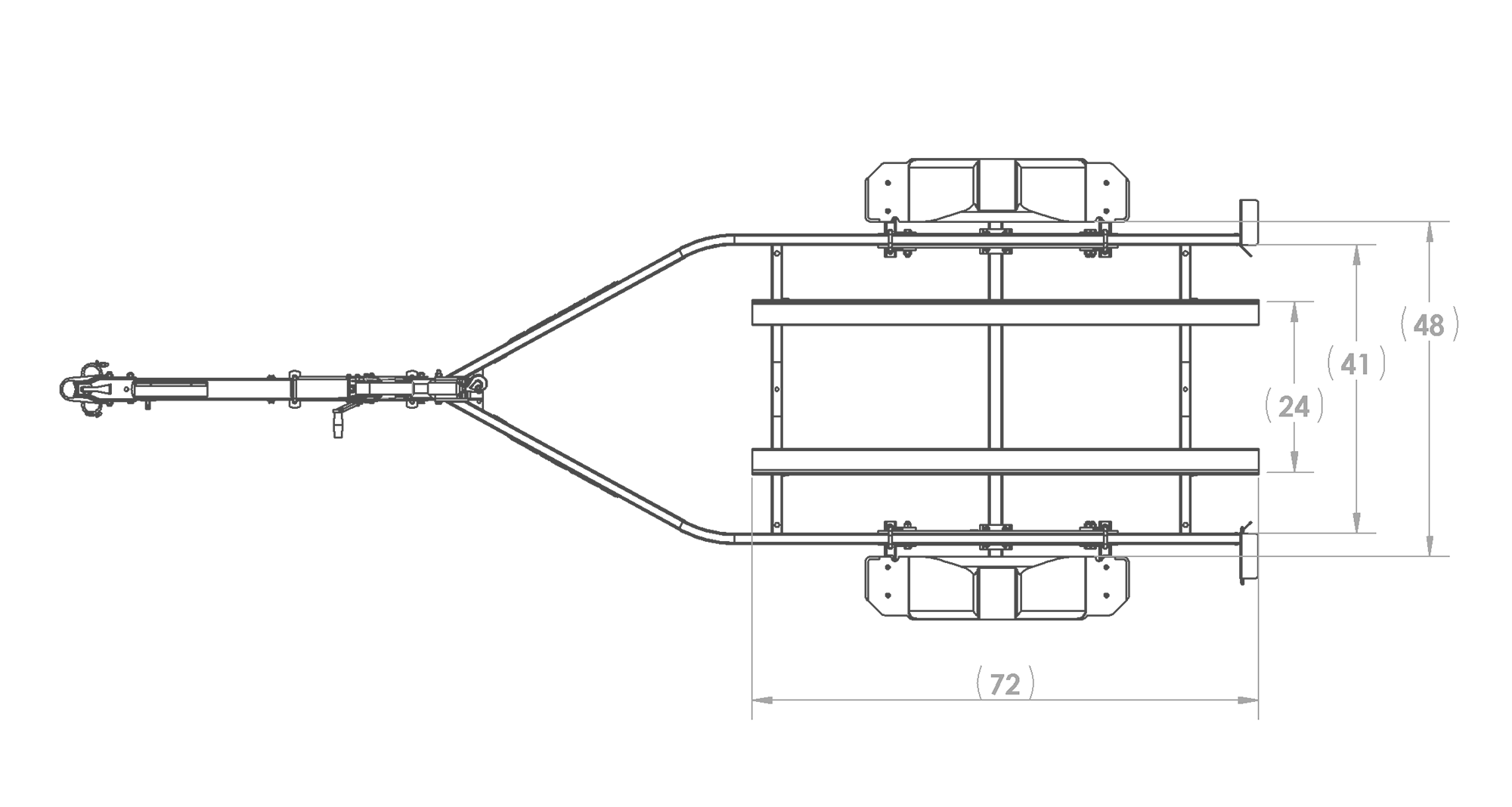 Karavan Trailer's Single Watercraft Steel Trailer w/Step Fender, model number WCE-1500-46, Top View Measurement