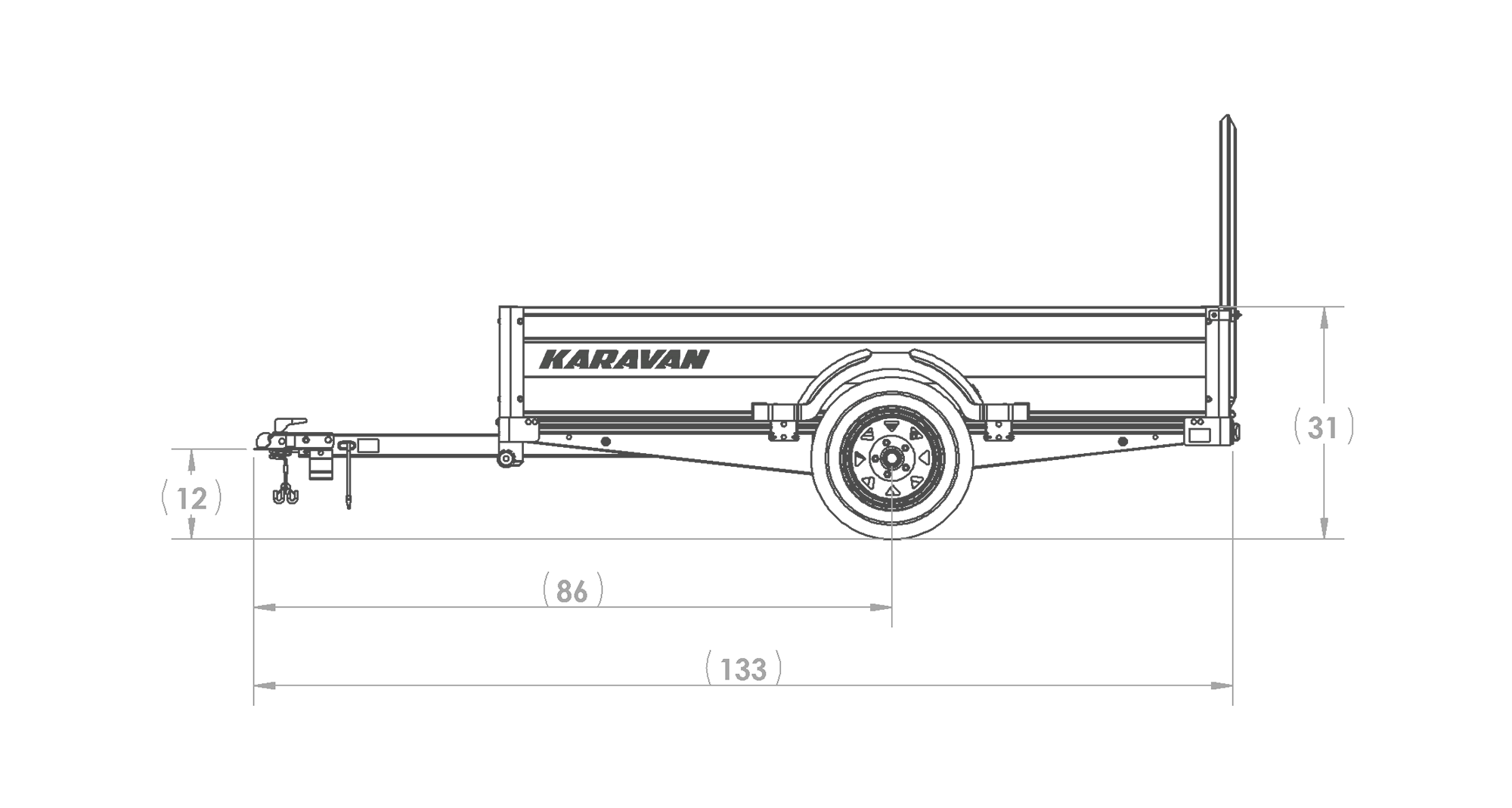 Karavan Trailer's 4.5 x 8 Ft. Anodized Aluminum Utility Trailer, model number MFF-2200-56-LP, Side View Measurements