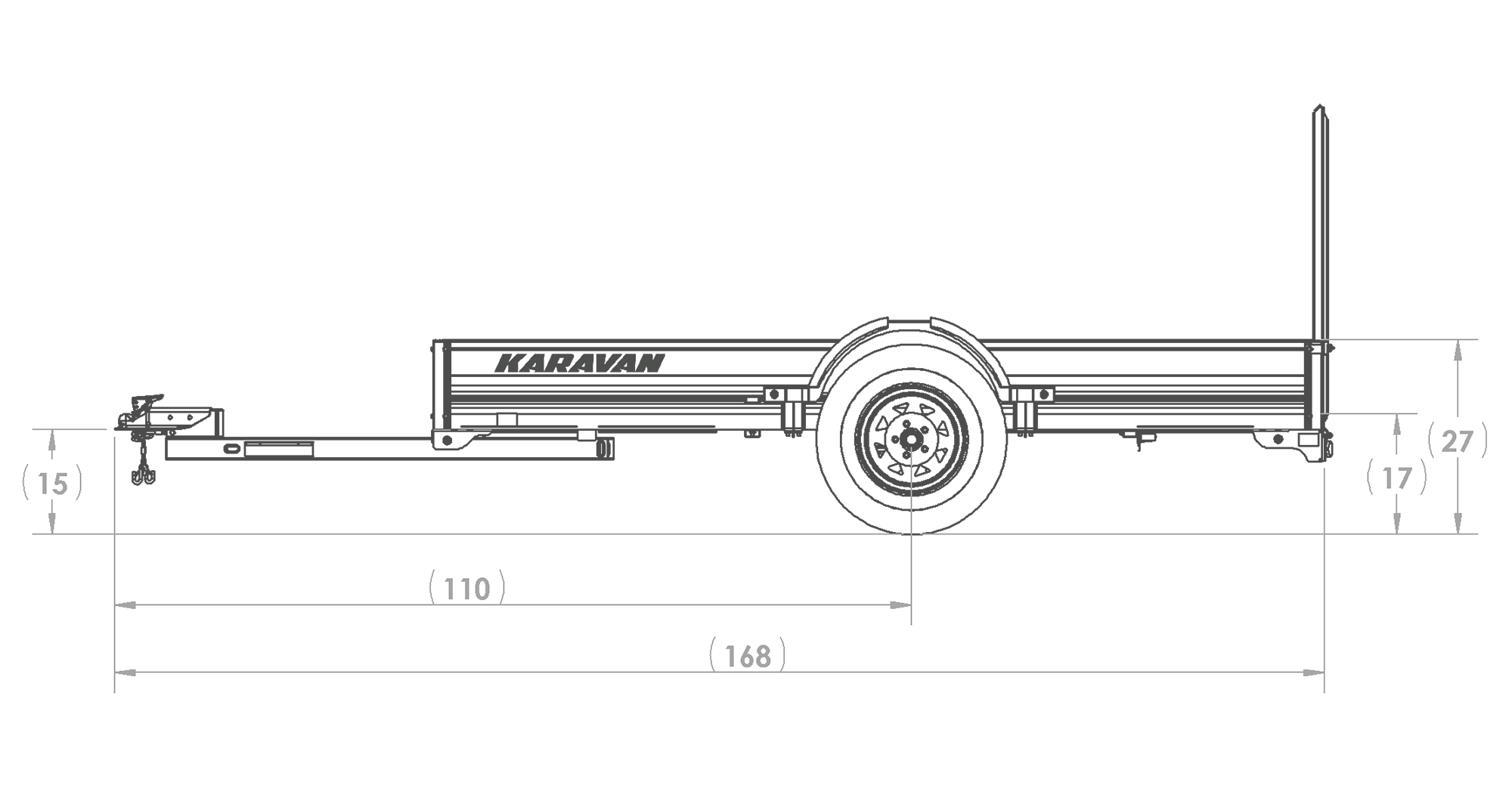 Karavan Trailer's 6 x 10 Ft. Aluminum Utility Trailer, model number SCU-299--SP-72-10-LP, Side View Measurements