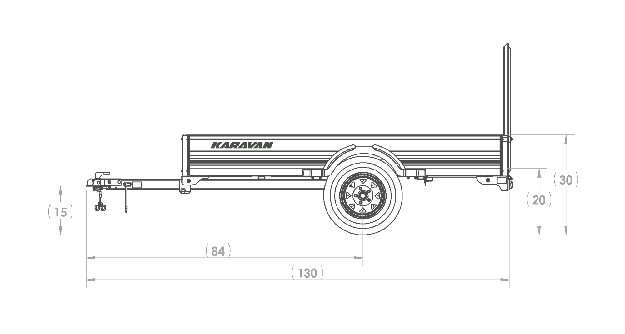 Karavan Trailer's 4.5 x 8 Ft. Aluminum Utility Trailer, model number SCU-2200-T-56, Side View Measurements