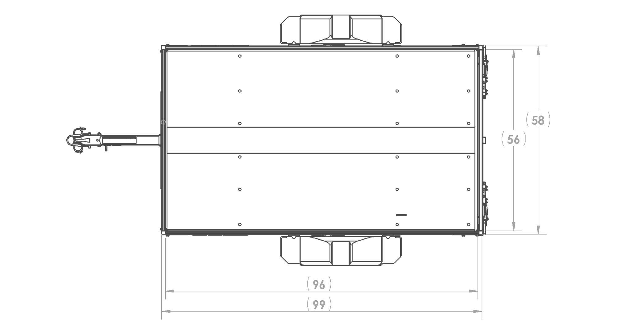 Karavan Trailer's 4.5 x 8 Ft. Aluminum Utility Trailer, model number SCU-2200-T-56, Top View Measurements