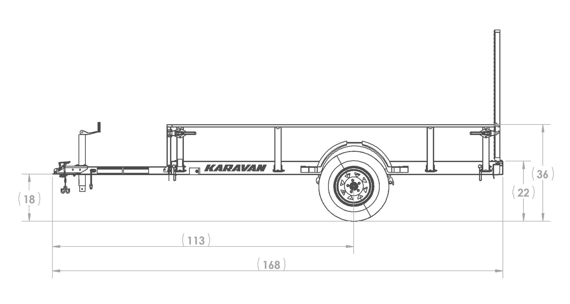 Karavan Trailer's 5 x 10 Steel Utility Trailer, model number 2990-60-10-LR, Side View Measurements