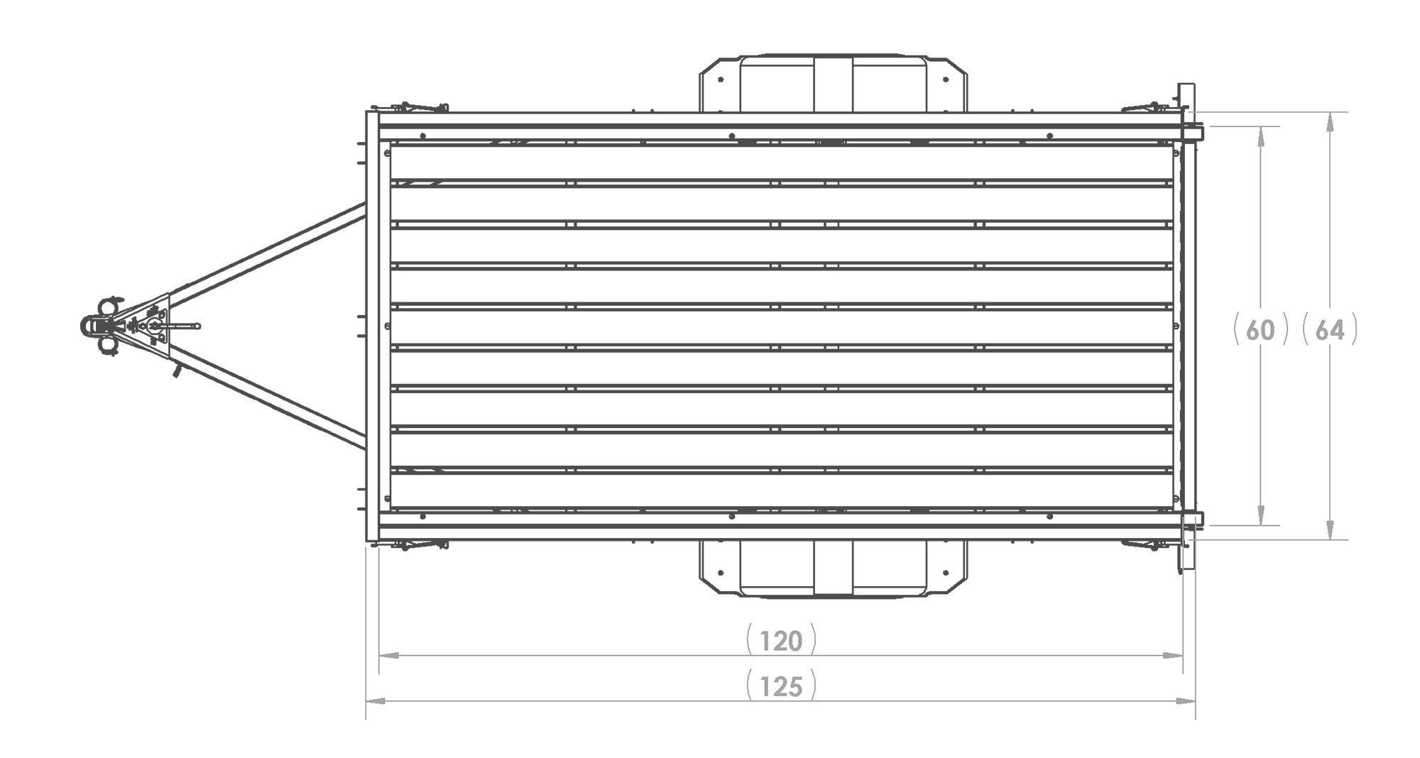 Karavan Trailer's 5 x 10 Steel Utility Trailer, model number 2990-60-10-LR, Top View Measurements
