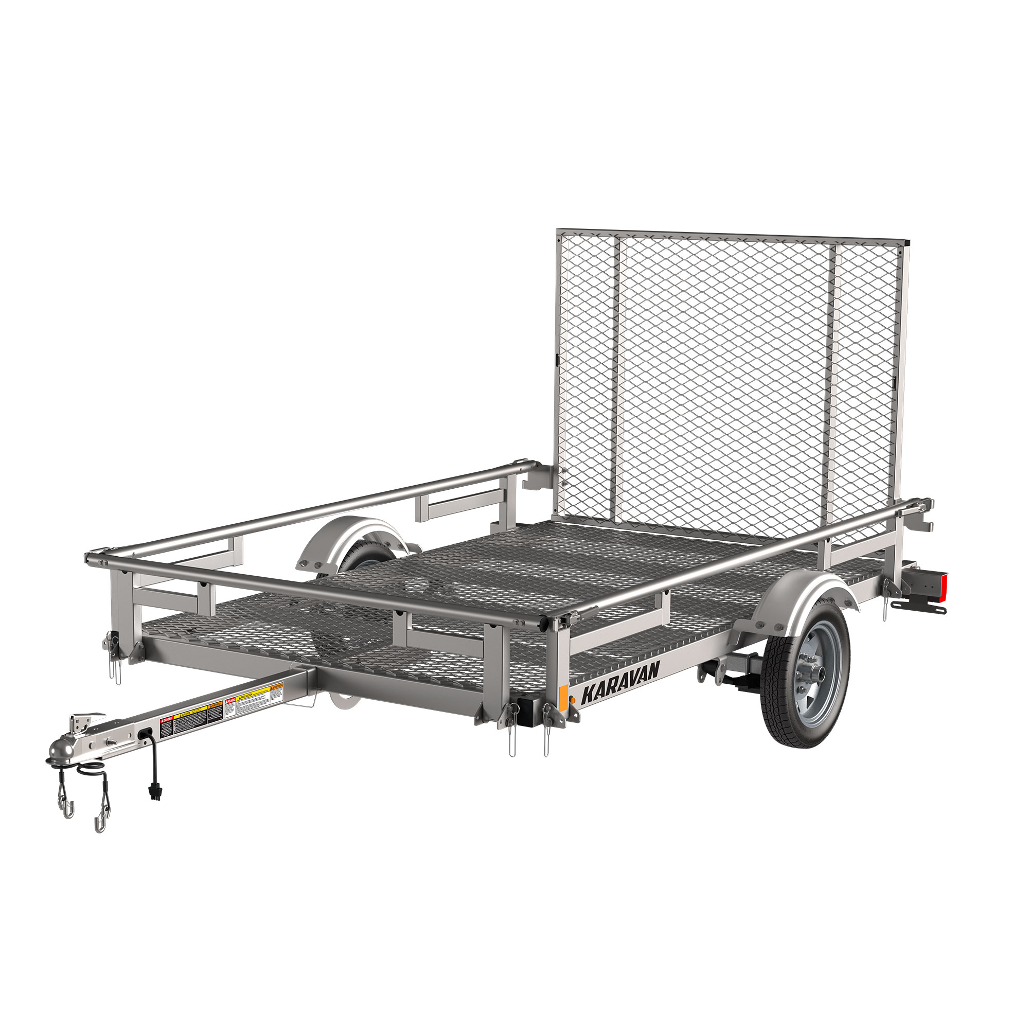 Karavan Trailer's 5 x 8 Ft. Steel Utility Trailer with Steel Mesh Floor, model number 2000-60-8-PRM-GG