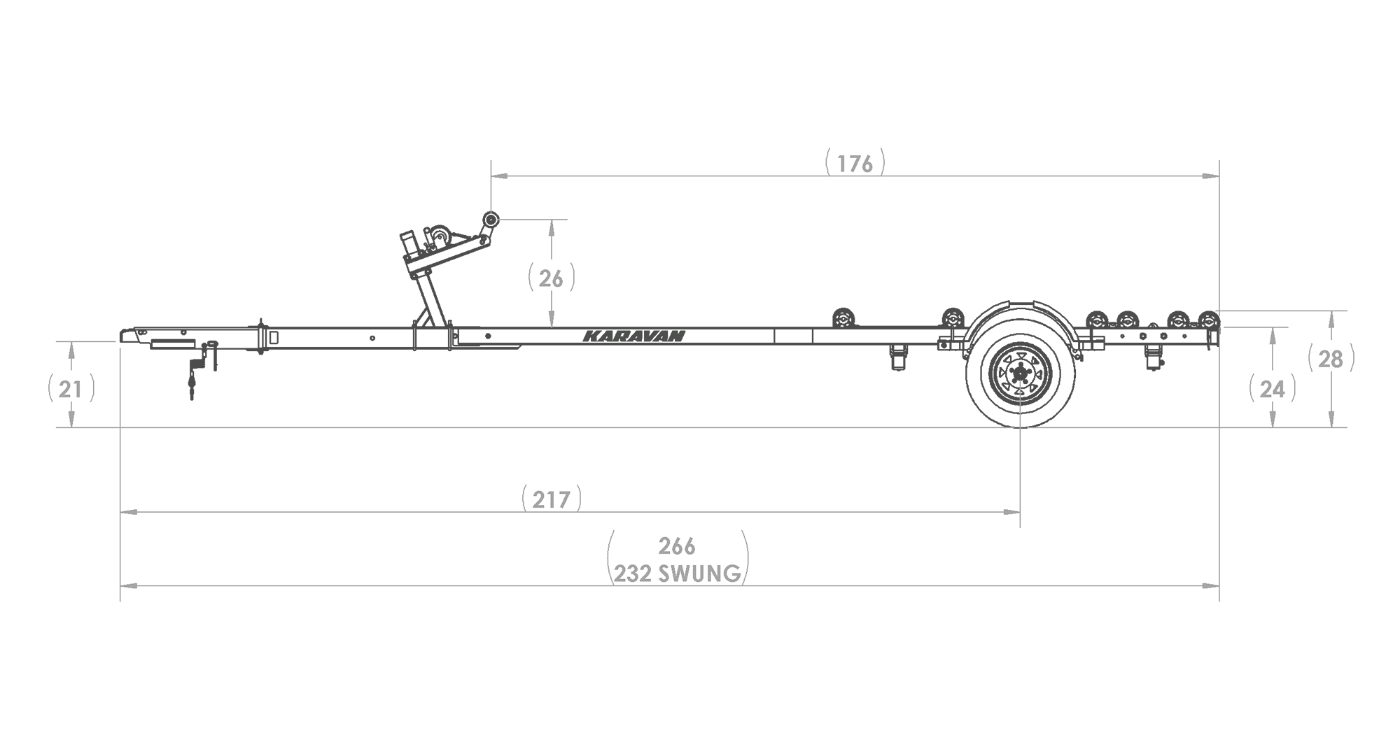 Karavan Trailer's Single Axel 3100# Roller Trailer, model number KKR-3100-78-S, Side View Measurements
